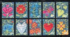 Buy Complete used set Scotts #4531-40 Garden of Love. Used OFF PAPER