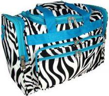 "Buy Zebra with Turquoise Trim 16"" Duffle Bag-NWT"