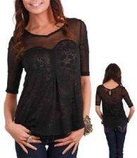 Buy Sexy Lace&Black Knit Top-Sz-L-NWT