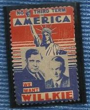 Buy Vintage 1940 Stamp No Third Term Democrats For Willkie