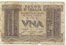 Buy Italy 1 Lire 1939 Banknote #281188 P26 WWII Era Currency