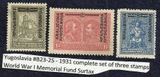 Buy Yugoslavia #B23-25 - 1931 complete set of three stamps World War I Memorial Fund