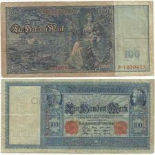 Buy German 100 Mark 1910 Banknote Large Reichsbanknote F1200423 Mercury/Cerees/Germania