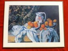 Buy Curtain, Carafe and Fruit Framed Print---27 x 35