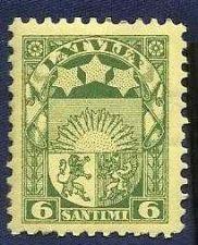 Buy old Latvia stamp 6 santimi Not used