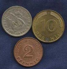 Buy Portugal 2-1/2 Escudos, 1976 +Bonus coins Germany 10 Pfennig 1990 & 2 Pfennig
