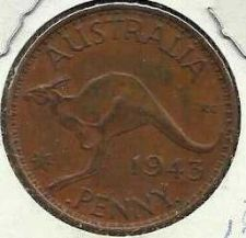 Buy AUSTRALIA 1 PENNY 1943 Coin - KANGAROO (Bronze) HISTORIC WWII CURRENCY!