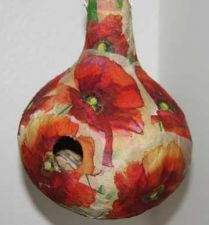 Buy Decoupaged Gourd Birdhouse with Poppies