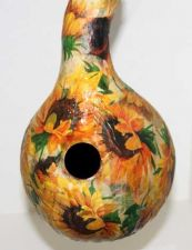 Buy Decoupaged Gourd Birdhouse with Sunflowers