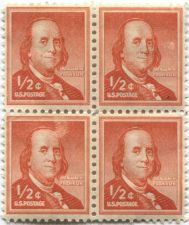 Buy 1958 US 1/2c Benjamin Franklin Postage Stamp 2x2