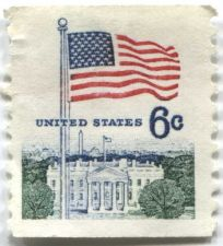 Buy 1968 6c White House with Flag Multicolored Unused US Postage Stamp