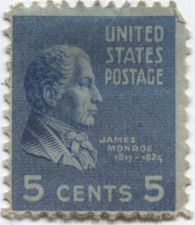 Buy 1938 1c James Monroe Single US Postage Stamp Good Unused Condition