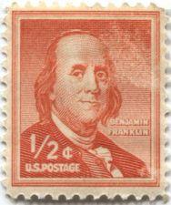Buy 1958 US 1/2c Benjamin Franklin Postage Stamp Single Slight smudge?