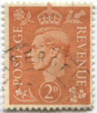Buy 1941 King George VI 2D Postage Revenue Stamp Pale Orange Circulated