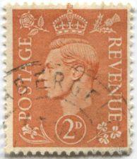 Buy 1941 King George VI 2D Postage Revenue Stamp Pale Orange Circulated
