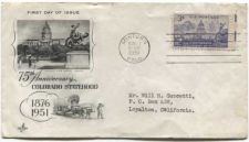Buy 1951 3c Colorado Statehood 75th Anniversary First Day of Issue Addressed