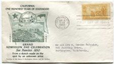 Buy 1950 3c California Centennial Stamp First Day of Issue Cover Right Selvage