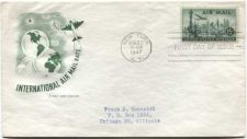 Buy 1947 15c New York Skyline 15c International Air Mail Rate First Day Cover