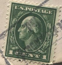 Buy 1912 1c George Washington Canceled Stamp on addressed envelope