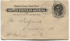 Buy Pioneer Era Postal Card One Cent Used Addressed Canceled Oct 7 1897