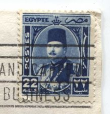 Buy 1950 Egypt King Farouk 22 Mills Stamp Canceled Addressed Envelope