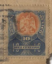 Buy 1909 Mexico 8 Diez and 1 Cinco Centavos Cancelled Attached to old Envelope