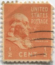 Buy 1938 .5c Benjamin Franklin Single US Postage Stamp Good used Condition