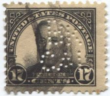 "Buy 1925 Wilson Black ""Memorial"" Stamp Perfin canceled off center"