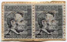 Buy 1965 4c Abraham Lincoln Black Cabin US Postage Joined Pair Perfin used Stamps