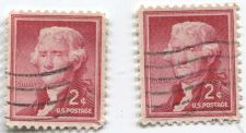 Buy 1954 2c Thomas Jefferson Liberty Series Hinged Good Condition Pair Used