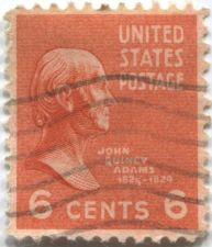 Buy 1938 President John Quincy Adams 6c Red Stamp Used Cancelled Good Condition