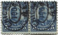 "Buy 1924 5c President Theodore ""Teddy"" Roosevelt attached pair Good Used"