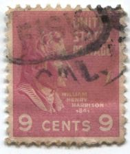 Buy 1938 President William Henry Harrison 9c Red Stamp Cancelled Good Used