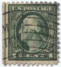 Buy 1917 1 Cent Washington Green Stamp Left Sheet Edge Cancelled