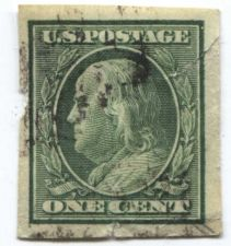Buy 1908 or 1910 One Cent Franklin Green Imperforate!!! Cannot make out Watermark