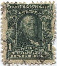 Buy 1903 1c One Cent Ben Franklin Series 1902 used US Postage Stamp Good
