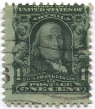 Buy 1903 1c One Cent Ben Franklin Series 1902 used US Postage Stamp Good #2