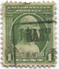 """Buy 1932 1c One Cent Washington Bust with Columns Design A211 Cancelled """"East"""""""