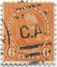 """Buy 1927 6c President Garfield Red Orange Stamp Good Used Cancelled """"C.A."""""""
