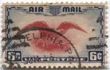 Buy 1938 6c Air Mail Red Eagle Bi-color Cancelled Philadelphia, PA Jun 16 Nice!