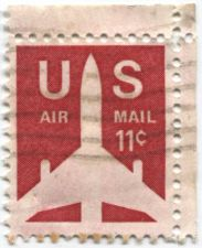 Buy 1971 11c Airliner US AirMail Stamp Corner Selvage Lightly Cancelled Good
