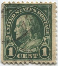 Buy 1923 1 cent Franklin Lightly Cancelled Used Stamp in Very Good Condition