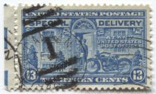 "Buy 1944 13 cent Special Delivery Stamp Blue Motorcycle Cancelled ""1"" and 1946"