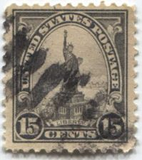 Buy 1922 15 cents Statue of Liberty Used Diagonal Cancellation Stamp Light Grey