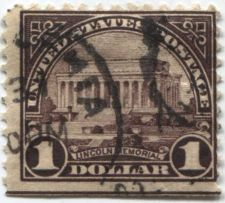 Buy 1923 $1 Lincoln Memorial 3 Sides Perforated Cancelled off-center good condition