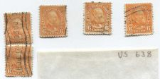 Buy 1927 6 Cents President Garfield Red Orange Stamps (x5) Good Used Cancelled