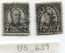 Buy 1927 7c McKinley Pair of Stamps (x2) cancelled off center good condition