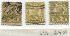 Buy 1927 8 Cents Grant Olive Green Set of 3 Stamps with glassline envelope used nice