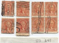 Buy 1927 9 Cents Jefferson Orange Red (x8) 4 Singles and 4 Joined with crazy perfs