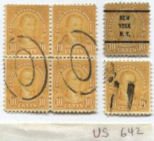Buy 1927 10 Cents Monroe Orange 2x2 Grid Attached + New York, NY Pre-cancel + Single
